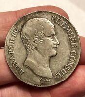 """1803 France, Napoleon """"Premeir Consul"""" AN 12-Q 5 Francs, Perpignan Mint, KM-659"""