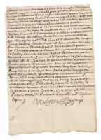 1668 KING LOUIS XIV royal notary manuscript document autograph amazing calligrap