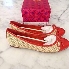 NWB Tory Burch Catherine Raffia Orange Patent Cap Toe Ballet Flats Shoes 8,5
