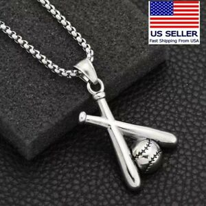 Unisex Baseball and bats Stainless Steel Pendant Necklace