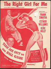 Right Girl For Me Take Me Out To The Ball Game Esther Williams Sheet Music