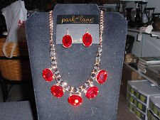 """Park Lane Jewelry """"CABERNET"""" Necklace & Earrings, Ruby Gems, Rose Gold New!!!"""