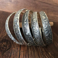 Retro Women Tibetan Tibet Totem Bangle Cuff Bracelet Gift Silver Accessories
