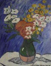 """Louis-Mathieu Verdilhan. """"Bouquet de fleurs"""" Huile sur toile v651"""