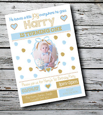 10 Personalised Kids Boy 1st Birthday Party PHOTO Invitations Invites +Envelopes