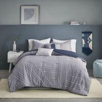 100% Cotton Yarn Dyed Chambray Indigo 5 pcs Comforter Cal King Queen Set New