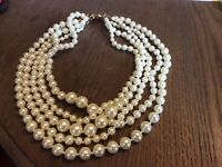 NWOT J. Crew Off-White 5-Strand Twisted Hammock Faux Pearl Necklace MSRP $52