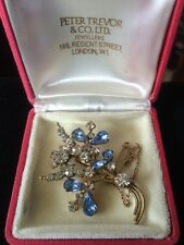 Delightful Blue And Clear Rhinestone Brooch Pin Vintage 1950