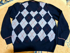Burberry Pullover lambswool shir jumper knit sweater yellow rare vtg jacquard  M