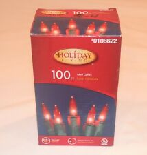 HOLIDAY LIVING 100 RED LIGHTS WITH GREEN WIRE .25W