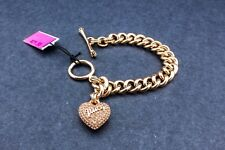 Juicy coutoure heart Charm necklace rose gold crystals link chain kids wear