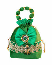 Designer Velvet Bow Potli Bag With Balls Handle Bag Women Marriage Ethnic