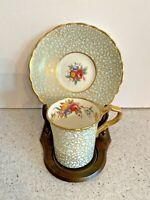 Vintage Paragon Fine Bone China Demitasse Tea Cup & Saucer Set Gold & Floral