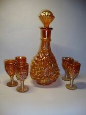 **IMPERIAL GRAPE** CARNIVAL GLASS 6 PC WINE SET-MARIGOLD**c 1912