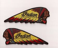 2 PCS /AUFNAEHER / EMBROIDERY PATCH / INDIAN MOTORCYCLE CHIEF / GREY RED YELLOW