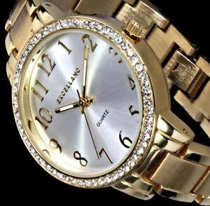Excellanc Uhr Damenuhr Armbanduhr Silber Gold Farben Metall Strass Si11