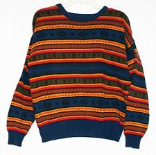 Women's Large pullover sweater navy orange horizontal design cotton, First Issue
