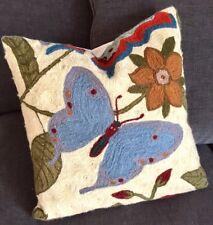 """Kashmir Hookwork Boho Butterfly Floral Garden Decorative Pillow Wool 16"""""""