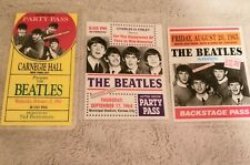 1960s Beatles Back Stage Concert Passes Set Of 3