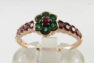 LUSH 9K 9CT ROSE GOLD RUBY  EMERALD ART DECO INS DAISY BAND RING FREE RESIZE