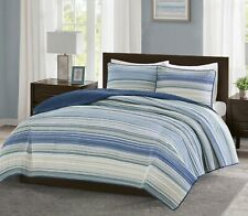 New Full/ Queen size 3 pcs Quilt Blanket Bedding Set - Blue Textural Stripe