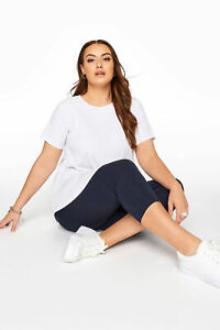 Yours Women's Navy Cotton Essential Cropped Leggings Plus Size Curve Navy Size