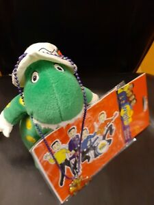 "Wiggles DOROTHY Green Dinosaur Plush 7"" Bean Bag  Necklace & New Window Sticker"