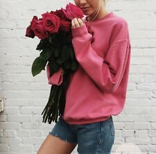 Brandy Melville SOFT Fleece Hot Pink Crewneck  Sweater Erica sweatshirt NWT