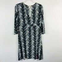 Coldwater Creek Size Large 14 Gray Printed Dress 3/4 Sleeve V Neck Acetate