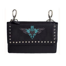 Genuine Leather Belt Bag - Hip Purse - Studded - Teal Heart Biker / Motorcycle