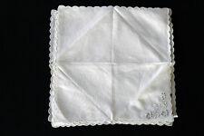 """Six Vintage 1940'S Blanc Lin Serviette Table Brodé & Festonnée Bords 13' X 13 """""""