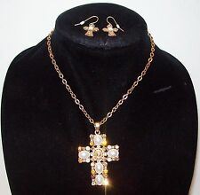 Vtg AB Amber Rhinestone Pearl Cameo Cross Necklace Earrings Set Signed You & I