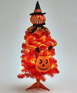 Lighted Halloween Character Tree Harvest Fall Home Decor - Pumpkin