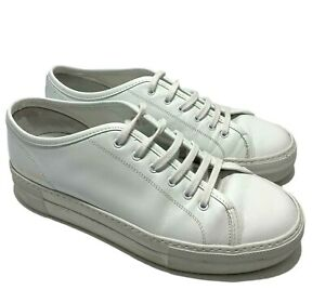 WOMAN BY COMMON PROJECTS 'TOURNAMENT' LOW WHITE LEATHER SNEAKERS, 36, $565
