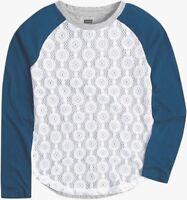 Levis Girls Long Sleeve Raglan Knit Lace Round Hem Top Shirt Size XS 4 Grey Blue