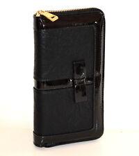 Portefeuille noir femme faux cuir portemonnaie clutch bag zip purse portfölj G15