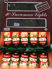 New Set Of Ten Christmas Snowman with Cane and Top Hat Blow Mold Novelty Lights