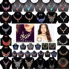 Fashion Women Crystal Necklace Bib Choker Chunky Statement Pendant Chain Jewelry