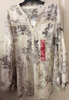 NEW Women XL Shirt Cream Brown Floral Tunic $59 Career Roll Up Babydoll Full Top