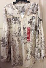 NEW Women XL/L 1X Shirt Top Cream Floral Tunic $59 Career Roll Up Babydoll Full