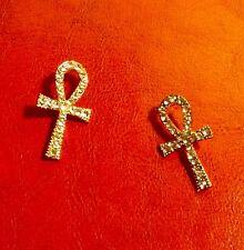 "Ankara 3/4"" Long Gold Tone Clear Rhinestone Ankh African Stud Post Earrings"