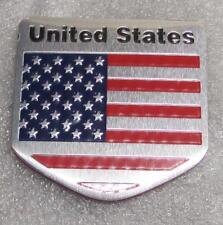 "UNITED STATES Flag Aluminum Sticker 3D Patriotic 2"" x 2"" Emblem NEW"