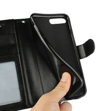 """For iPhone 8 Plus 5.5"""" Black Leather Classic Business Flip Wallet Case Cover"""