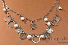 SILPADA  N1567 Freshwater Pearls Copper Coins Sterling Silver Necklace RET