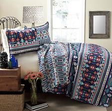 3-Piece TRIBAL Cotton REVERSIBLE Coverlet QUILT Set KING Size Bedspread Pillow