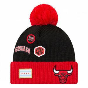 Chicago Bulls New Era 2018 Draft Cuffed Knit Hat With Pom - Black/Red