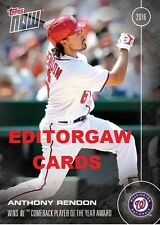 TOPPS NOW CARD OS-34: ANTHONY RENDON WINS NL COMEBACK PLAYER OF THE YEAR AWARD