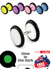 Pair Unisex Fake Acrylic Screw-on Glow in the Dark Plug stud with O-Ring Earring