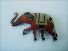 Rust Gold Black Enamel Elephant Pin Brooch