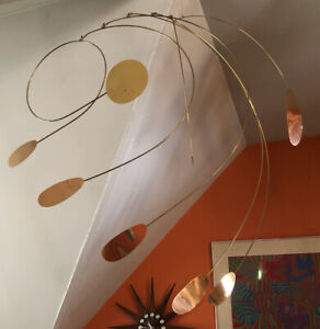 Mid Century Modern Mobile Calder Style Sculpture Hanging Art Brass Copper 1970's